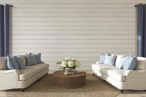 sala de estar de design costeiro. mock up parede branca em fundo interior de casa aconchegante. ilustração da renderização 3d do estilo hampton. foto