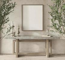 quarto de design escandinavo com oliveiras. quadro de maquete em aconchegante fundo interior em casa. ilustração de renderização 3d do estilo boho. foto