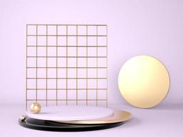 pódio do produto em fundo pastel 3d. conceito abstrato de geometria mínima. tema de plataforma de estande de estúdio. palco de exposição e apresentação de marketing empresarial. foto