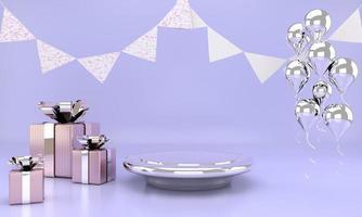 simulação abstrata cor pastel de cena. geometria forma pódio fundo para comemorar. Renderização 3d foto