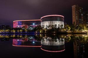 putian, china, 2021 - o museu putian da china à noite foto