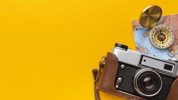 moldura de bússola de câmera plana foto