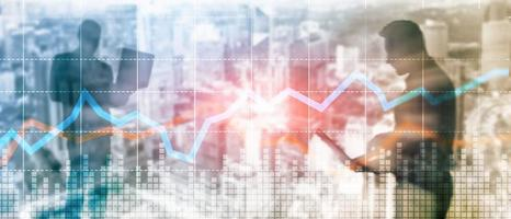 negócio financeiro negociação investimento conceito gráfico tela virtual dupla exposição. foto