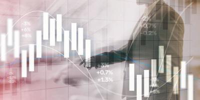 conceito de investimento financeiro. gráfico de negociação do mercado de ações e gráfico de velas. foto