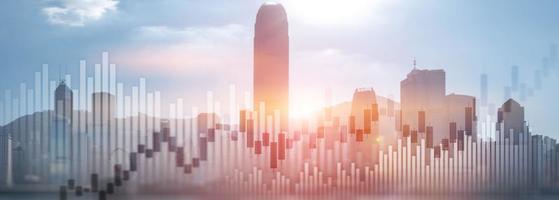 negociação investimento gráfico gráfico cidade skyline visualização dupla exposição website panorâmica cabeçalho banner foto