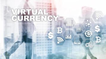 câmbio de moeda virtual, conceito de investimento. símbolos de moeda em uma tela virtual. fundo de tecnologia financeira. foto