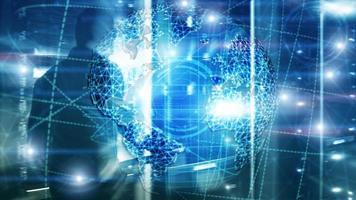 Holograma 3D da terra, globo, www, negócios globais e telecomunicações. foto