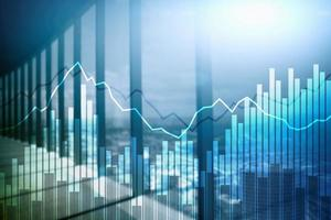gráficos e diagramas financeiros de dupla exposição. conceito de negócio, economia e investimento. foto