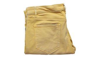 calças amarelas isoladas, calças jeans amarelas, calças justas. bolsos modernos calça amarela para adolescentes isolados no fundo branco. roupas de moda jovem verão foto
