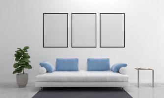 Estrutura da sala de estar moderna renderizada 3D com sofá - sofá e mesa foto