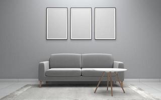 Renderização 3D da moderna sala de estar interior com sofá - maquete realista de sofá e mesa foto