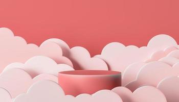 cilindro para exposição de produto com nuvens no estilo papel recortado foto