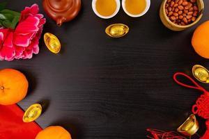 laranjada de mandarim de ano novo chinês e água com chá foto