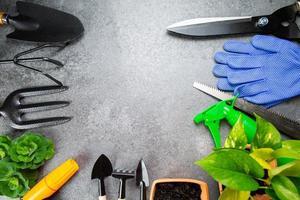 ferramentas de jardinagem instrumento múltiplo para seu jardim e flores com banner para seu projeto. foto