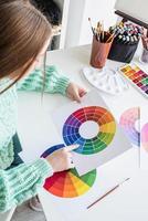 designer ou artista trabalhando com amostras de cores e visão de alto ângulo da roda de cores foto
