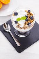 deliciosa sobremesa, flocos inundados em iogurte de dois sabores foto