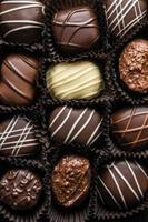 doze trufas de chocolate foto