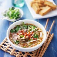 tigela de sopa de carne vietnamita pho tai foto