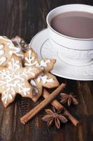 biscoitos de gengibre de Natal e cacau em uma xícara branca.
