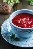sopa de beterraba russa tradicional com salsa foto