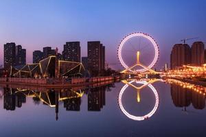 a bela visão noturna de tianjin foto