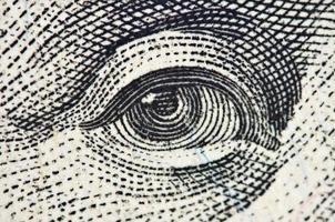 olho em uma nota de dólar eua, macro foto