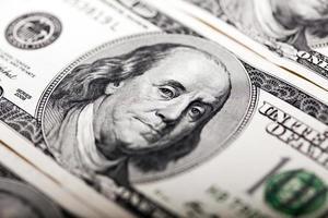 benjamin franklin retrato de 100 notas de dólar foto