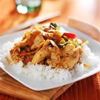 caril de frango panang tailandês picante vermelho