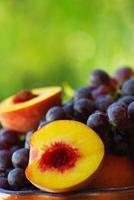 pêssego, uvas e frutas cítricas