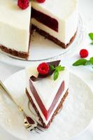 delicioso bolo de framboesa com geléia de framboesa. foto