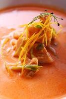 sopa gourmet fresca com carne foto