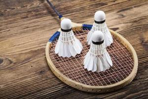 conjunto de badminton. remo e a peteca. foto
