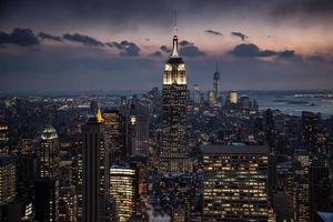 cidade de nova york ao entardecer foto