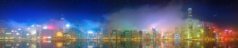 panorama de hong kong e distrito financeiro foto