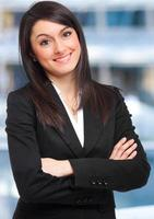 empresária sorridente no escritório foto