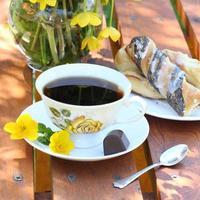 café no jardim foto