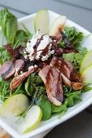salada de rúcula de pato defumado, noz de cabra, maçã noz sundriedtomato foto