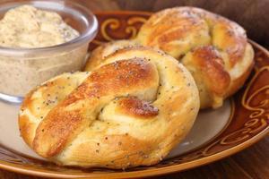 pretzels macios closeup foto
