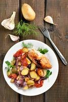 legumes assados e peito de frango