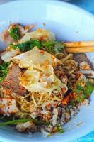 macarrão de porco em estilo asiático foto