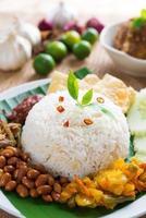 comida malaia nasi lemak kukus foto