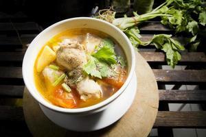 sopa de galinha com batatas. foto