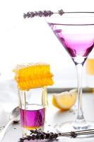 martini, lavanda, mel, limão cocktail sobre um fundo branco. Vermute. foto