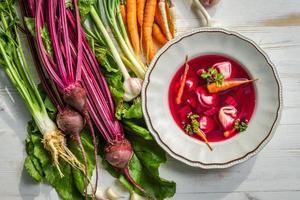 sopa de beterraba feita com legumes frescos foto