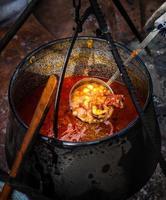 sopa de goulash tradicional no caldeirão foto