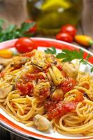 espaguete com mexilhões foto