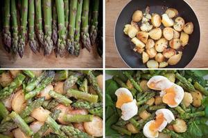 conjunto de salada de aspargos, batatas, espinafre e ovos foto