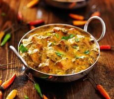 comida indiana - prato de caril saag paneer foto