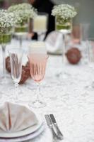 mesa posta para recepção de casamento foto