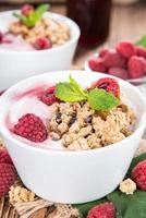 iogurte caseiro de framboesa foto